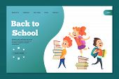 Back To School Landing Template. Web Banner With Vector Cartoon Students. Education And Study, Schoo poster