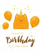 Kitty With Balloons And Lettering Happy Birthday poster