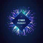Cyber Monday Sale Template With Bursting Blue Fireworks Decoration. Holiday Online Shopping Advertis poster