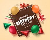 Happy Birthday Greeting Card Vector Banner Design. Birthday Greeting Text  In Empty Space Frame With poster