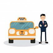 Yellow Taxi Car And Taxi Driver -  Icon. Cute Male Vector Character - Taxi Driver poster