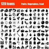 Set Of 120 Icons. Fruit, Vegetables, Food  Themes. Black Color Stencil Design. Vector Illustration. poster