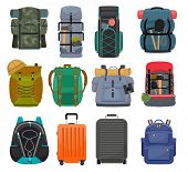 Backpack Camp Vector Backpacking Travel Bag With Tourist Equipment In Hiking Camping And Climbing Sp poster