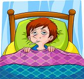 picture of high fever  - sick person with high fever lying in bed - JPG
