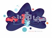 Vector Illustration Comparing Electric Versus Gasoline Car. Electric Car Charging At Charger Station poster