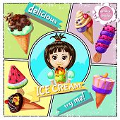 Cartoon Ice Cream Concept With Icecreams Of Different Sorts And Design And Girl Holding Tasty Ice Cr poster