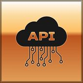 Black Cloud Api Interface Icon Isolated On Gold Background. Application Programming Interface Api Te poster
