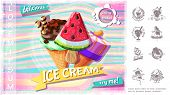 Cartoon Delicious Ice Cream Concept With Colorful Tasty Icecream On Stick And In Wafer Cone And Mono poster