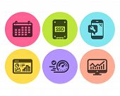 Ssd, Speedometer And Calendar Icons Simple Set. Phone Repair, Seo Statistics And Statistics Signs. S poster