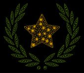 Bright Mesh Star Glory Wreath With Glitter Effect. Abstract Illuminated Model Of Star Glory Wreath I poster