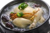 steaming samgyetang, chicken soup with ginseng, korean food