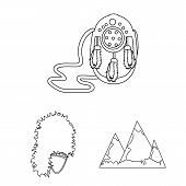 Country Scotland Outline Icons In Set Collection For Design. Sightseeing, Culture And Tradition Bitm poster