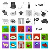 Country Scotland Flat Icons In Set Collection For Design. Sightseeing, Culture And Tradition Bitmap  poster