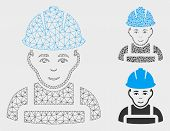 Mesh Glad Worker Model With Triangle Mosaic Icon. Wire Frame Triangular Mesh Of Glad Worker. Vector  poster