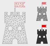 Mesh Fortress Tower Model With Triangle Mosaic Icon. Wire Carcass Polygonal Mesh Of Fortress Tower.  poster
