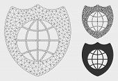 Mesh Global Shield Model With Triangle Mosaic Icon. Wire Frame Polygonal Mesh Of Global Shield. Vect poster