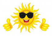 A Merry Cartoon Sun In Protective Glasses From The Sun. A Cheerful Cartoon Sun On A White Background poster