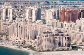 View on apartments house on artificial island Palm Jumeirah