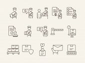 Customs Icons. Set Of Line Icons. Customs Officer, Passport Check, Custom Border. Airport Concept. V poster