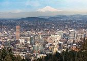 Portland Oregon Downtown Cityscape And Mt Hood