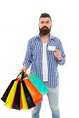 Cyber Monday Is The Biggest Shopping Day. Shopper Holding Paper Bags And Card On Cyber Monday. Hipst poster