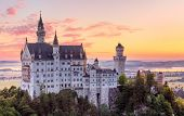 Bavaria, Germany. Fairytale Neuschwanstein Castle in Bavarian Alps mountains. Picturesque view at va poster