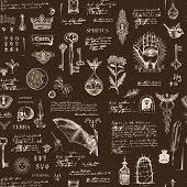 Vector Seamless Pattern In Vintage Style On Theme Of Alchemy, Magic, Witchcraft And Mysticism With S poster