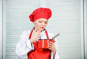 Butter Cream. Use Hand Whisk. Woman Chef Hold Whisk And Pot. Girl In Apron Whipping Eggs Or Cream. S poster