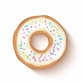 Donut With A White Icing Sprinkled With Grains. Realistic Colorful Donut On White Sprinkled With Gra poster