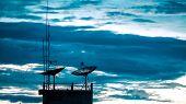 Satellite Dish Sky Sunset Communication Technology Network Image Background For Design. Satellite Di poster