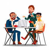 Informal Time At Work Characters Employees . Businessmen Drinking Coffee Or Tea, Smiling And Discuss poster