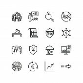 Innovative Business Icons. Set Of Line Icons. Interactive Presentation, Innovation, Job Interview. B poster
