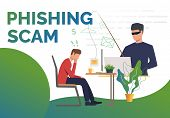 Scammer Holding Fishing Tackle With Hooked Message Of Office Worker. Phishing Scam Landing Page Temp poster