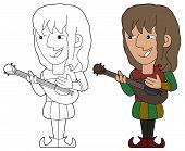 pic of minstrel  - Minstrel playing the mandolin illustration coloring book line - JPG