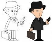 foto of mobsters  - Mobster with gun and suitcase coloring book line - JPG
