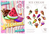 Fresh Ice Cream Colorful Concept With Icecreams Of Different Sorts And Flavors In Cartoon Style Vect poster