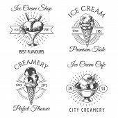 Ice Cream Badges. Dairy Icecream Dessert Sketch Icons On White, Hand Drawn Vanilla Icecreams Logo Ve poster