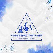 Mountain Carstensz Pyramid Logo. Triangular Mountain Blue Vector Insignia. Carstensz Pyramid In Sudi poster