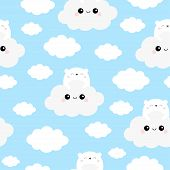 Seamless Pattern. White Bear Face Holding Cloud In The Sky. Cute Cartoon Kawaii Funny Smiling Baby C poster