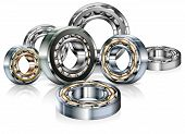 picture of friction  - Metal roller bearings on white background vector illustration - JPG