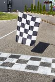The Finish Line And Checkered Flag Racing. Finish The Race poster
