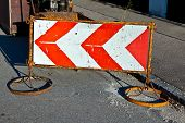 Traffic Sign To Indicate A Construction Site At The Street