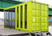 Green Cargo Container Converted For Living Small Home poster