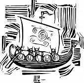 Woodcut Viking Longship