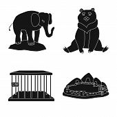 Vector Illustration Of Fauna And Entertainment Icon. Set Of Fauna And Park Stock Symbol For Web. poster