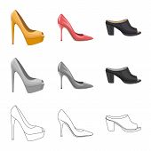Bitmap Design Of Footwear And Woman Icon. Set Of Footwear And Foot Bitmap Icon For Stock. poster