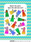Visual Puzzle With Colorful Scuba Diving Flippers (suitable Both For Kids And Adults): Match The Pai poster