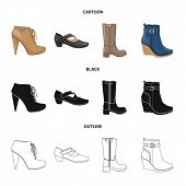 Isolated Object Of Footwear And Woman Logo. Set Of Footwear And Foot Bitmap Icon For Stock. poster