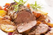 stock photo of lamb  - Lamb roast with vegetables - JPG