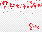 Seamless Pattern Of Swiss Garlands Flags And Flying Confetti In Traditional Colors. Decorative Reali poster